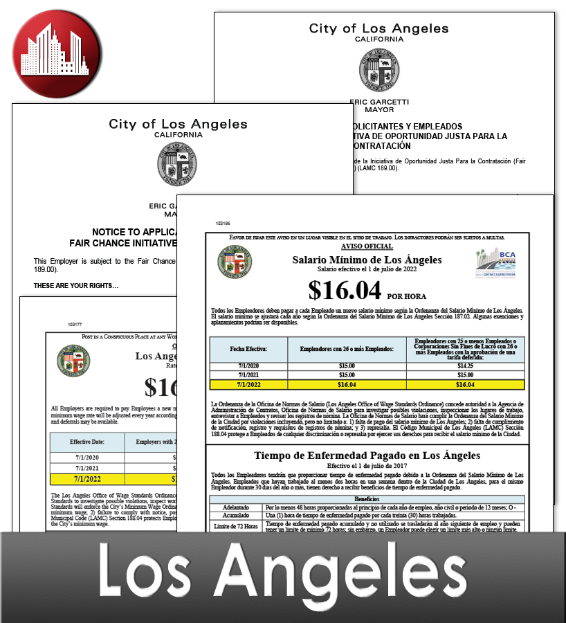 Los Angeles, CA Laminated Workplace Poster Package