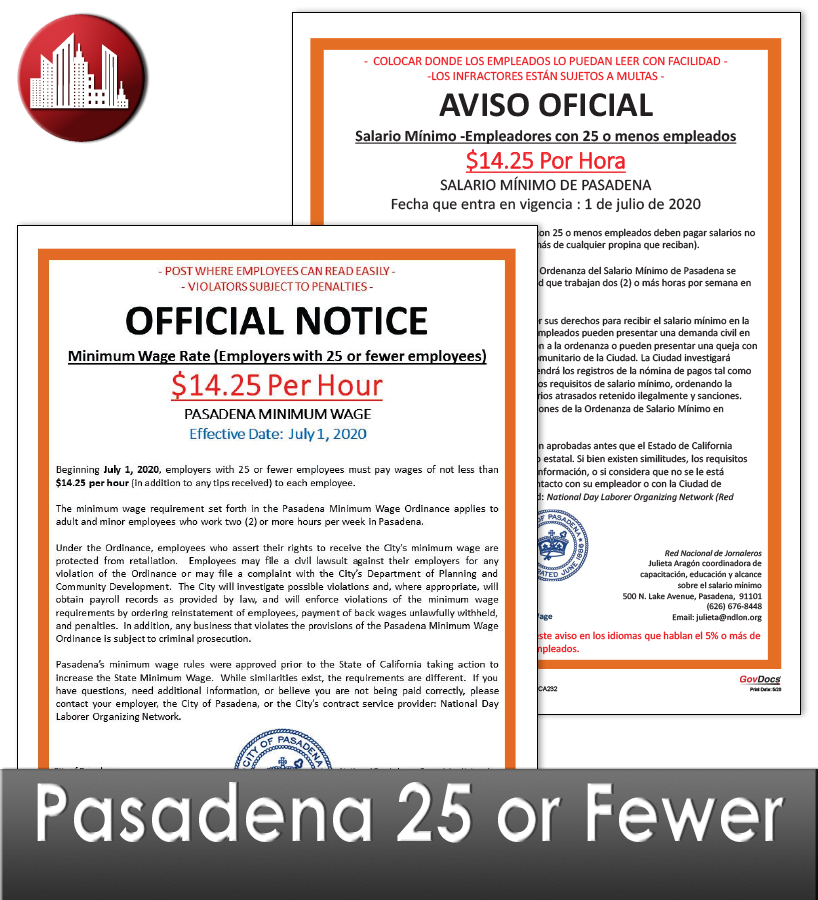 Pasadena, CA Laminated Workplace Poster Package – 25 or fewer employees