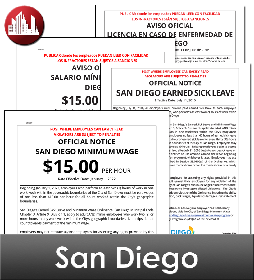 San Diego, CA Laminated Workplace Poster Package