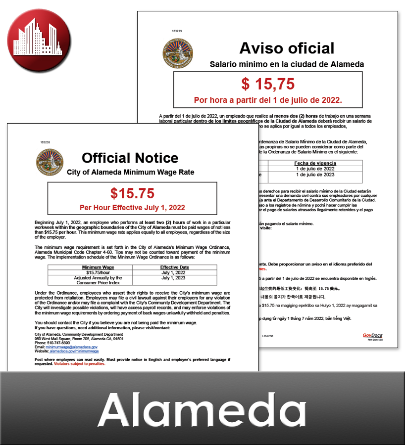 Alameda, CA Laminated Workplace Poster Package