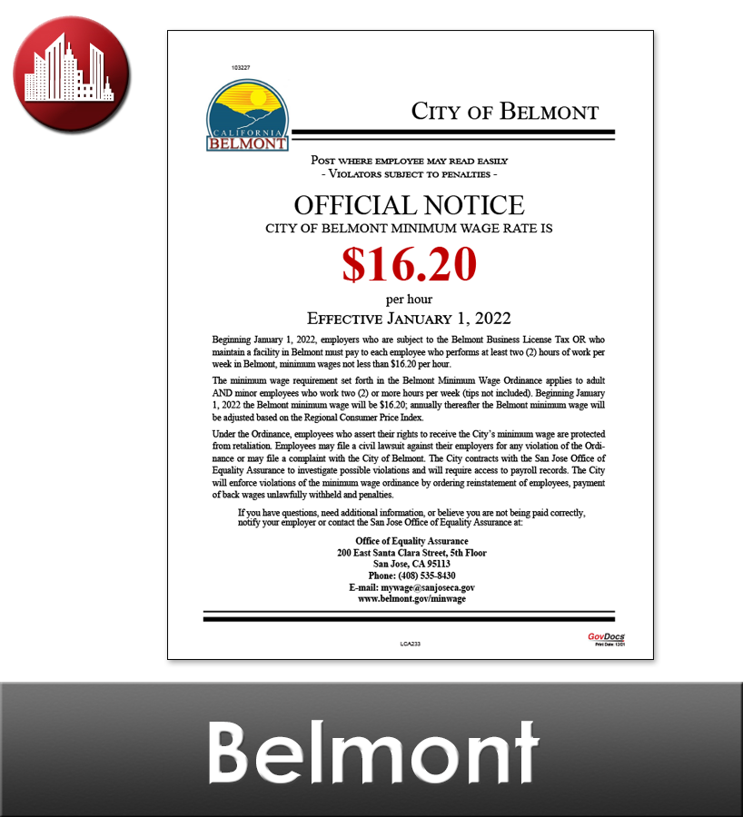 Belmont, CA Laminated Workplace Poster Package