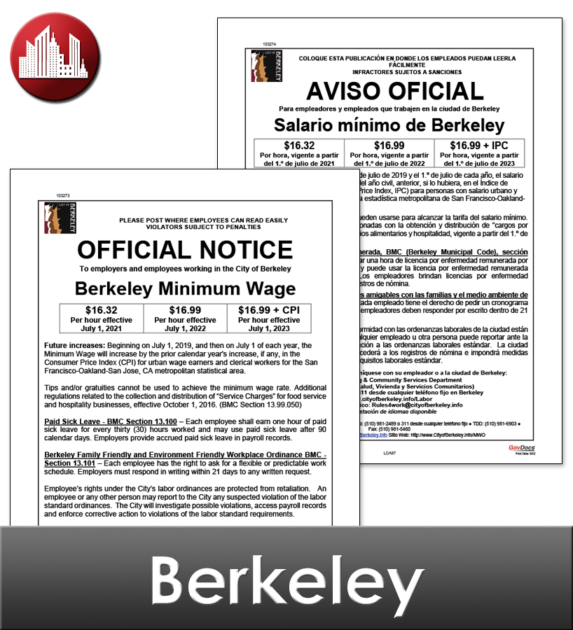 Berkeley, CA Laminated Workplace Poster Package