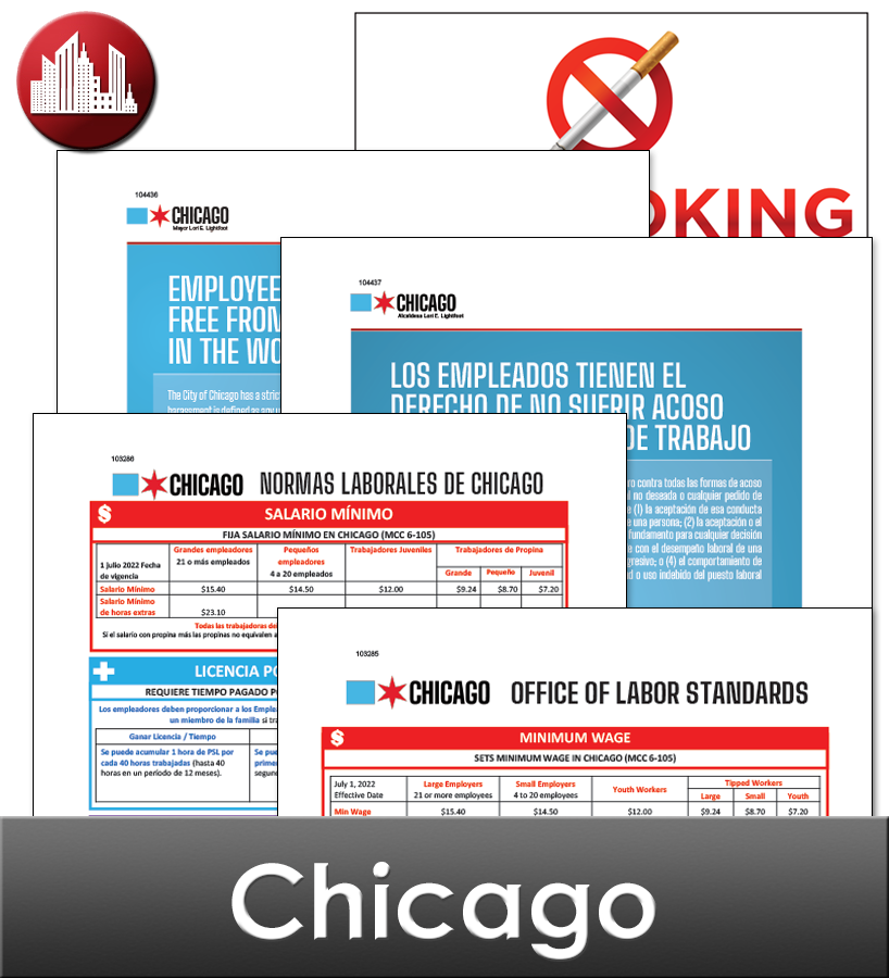 Chicago Il Laminated Workplace Poster Package