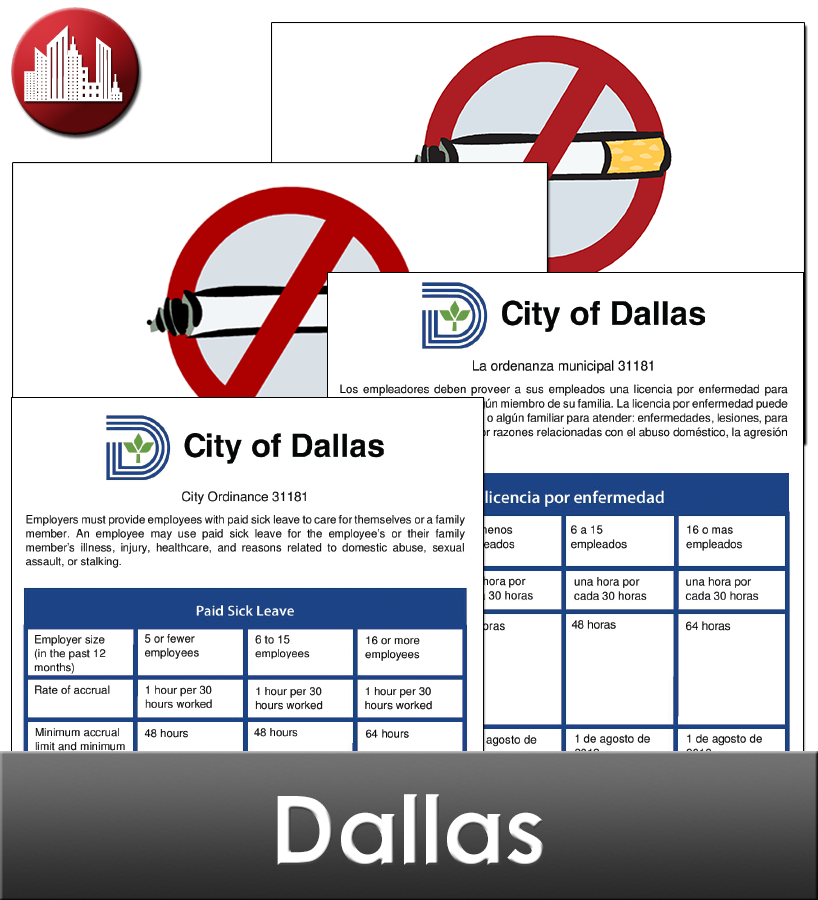 Dallas, TX Laminated Workplace Poster Package