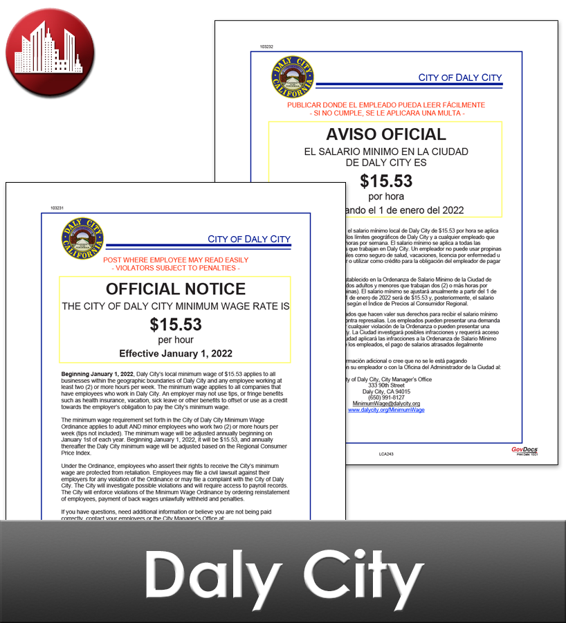 Daly City, CA Laminated Workplace Poster Package