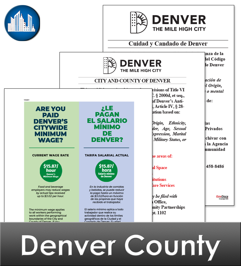 Denver, CO Laminated Workplace Poster Package