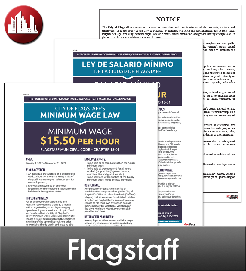 Flagstaff, AZ Laminated Workplace Poster Package