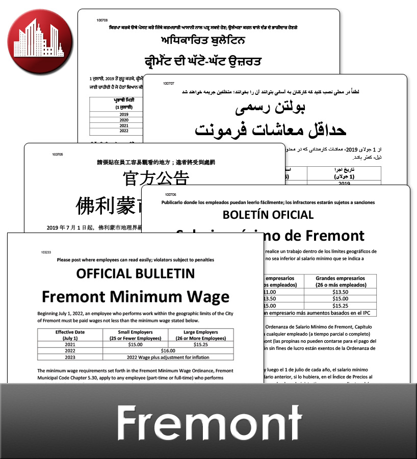 Fremont, CA Laminated Workplace Poster Package
