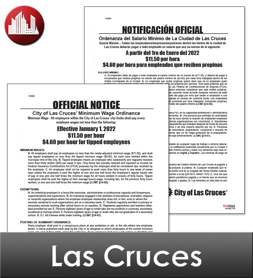 Las Cruces, NM Laminated Workplace Poster Package