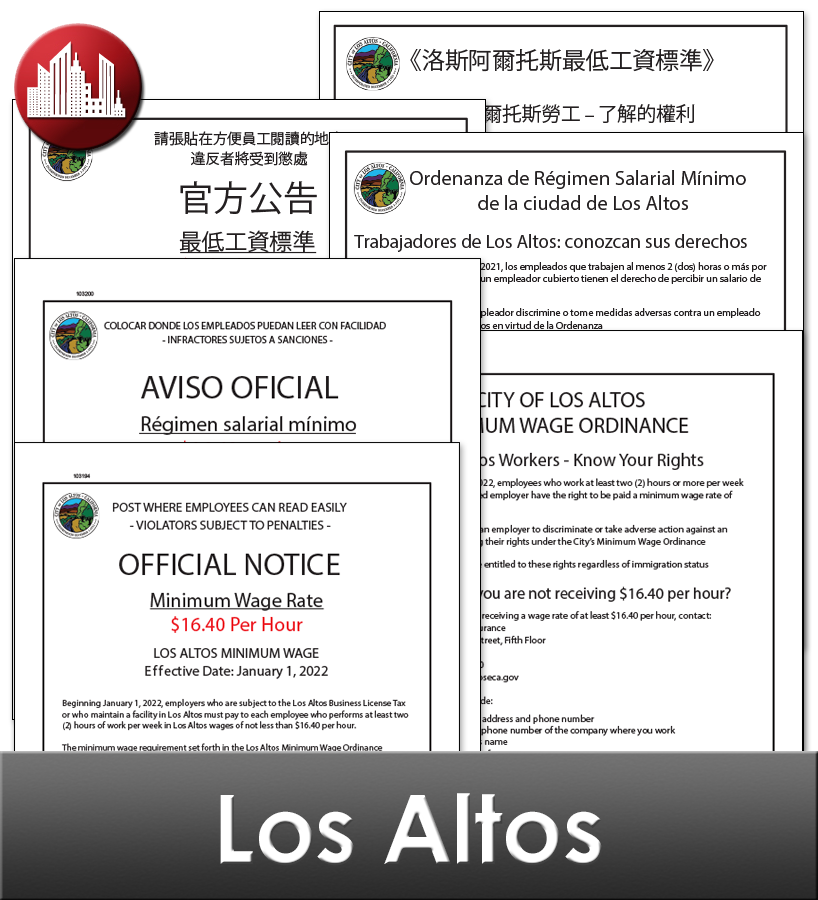 Los Altos, CA Laminated Workplace Poster Package