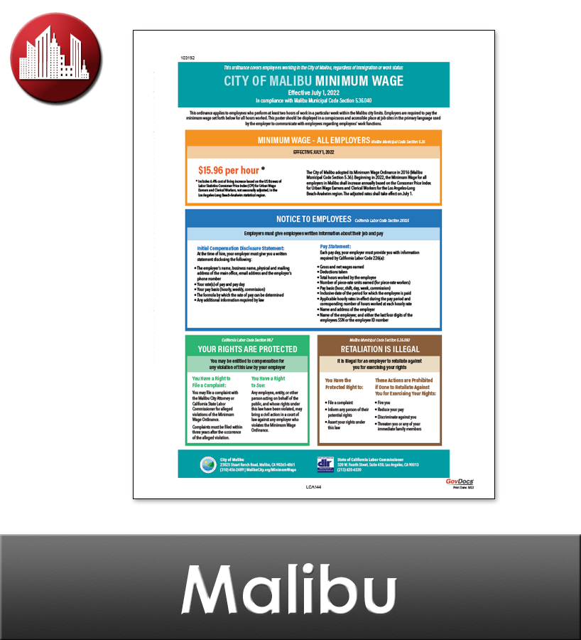 Malibu, CA Laminated Workplace Poster Package