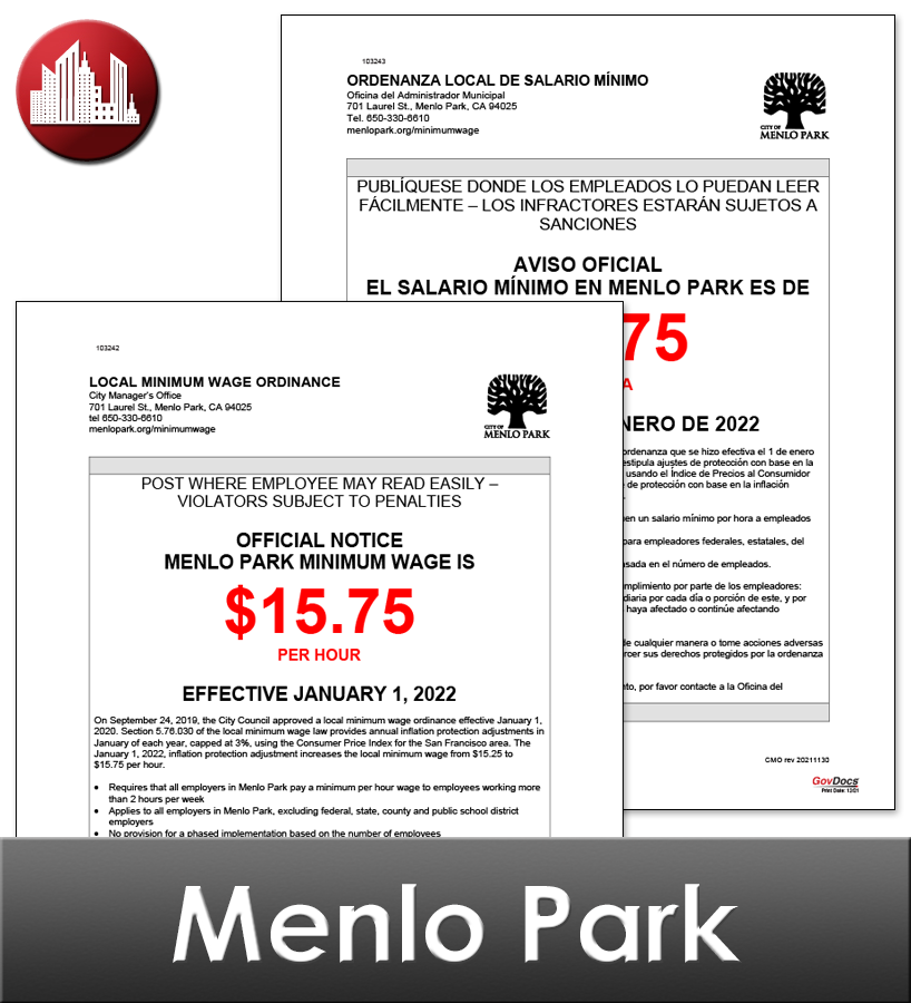 Menlo Park, CA Laminated Workplace Poster Package