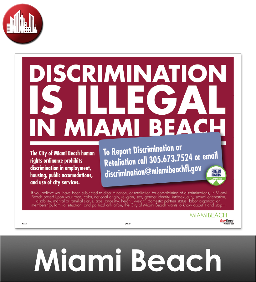 Miami Beach, FL Laminated Workplace Poster Package