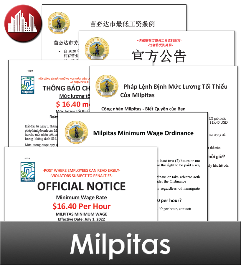 Milpitas, CA Laminated Workplace Poster Package