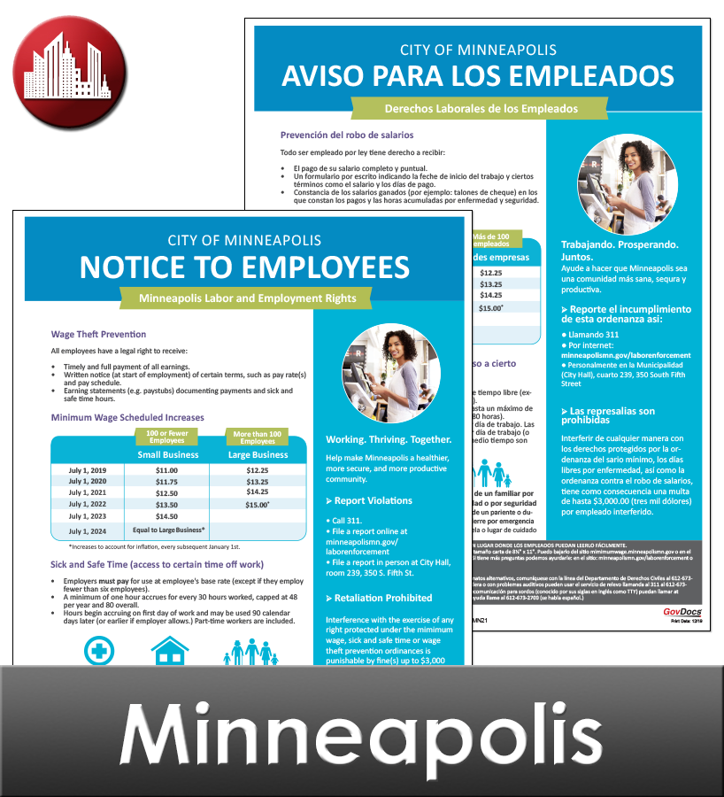 Minneapolis, MN Laminated Workplace Poster Package