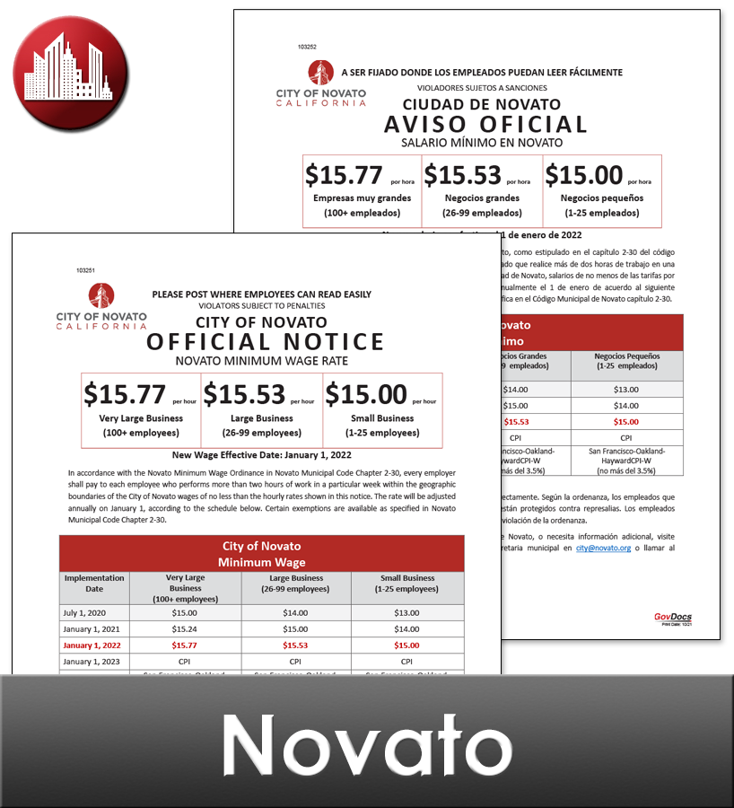 Novato, CA Laminated Workplace Poster Package