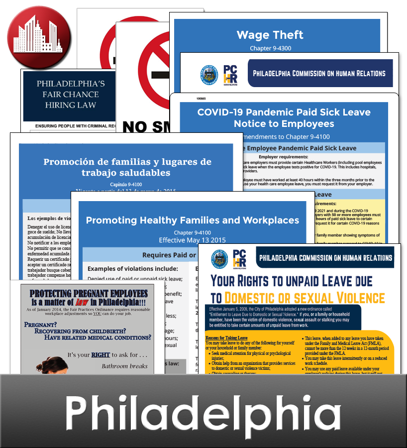 Philadelphia, PA Laminated Workplace Poster Package