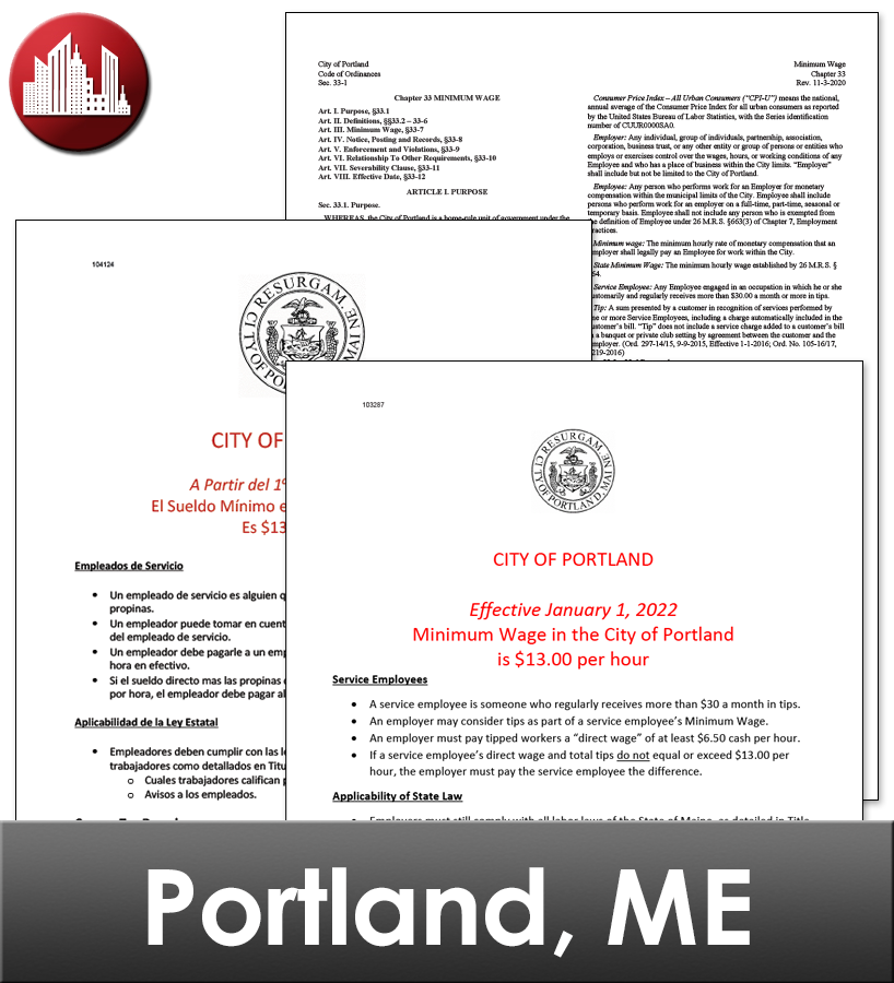 Portland, ME Laminated Workplace Poster Package