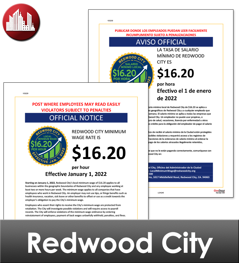 Redwood City, CA Laminated Workplace Poster Package