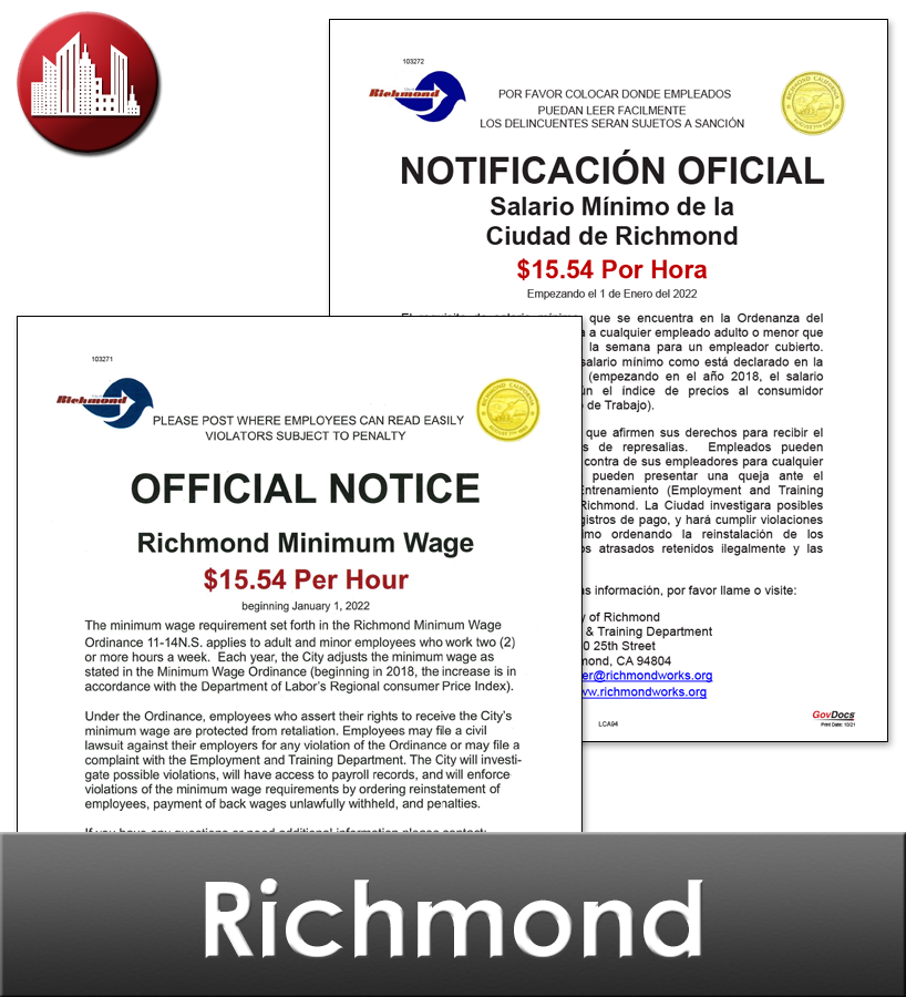 Richmond, CA Laminated Workplace Poster Package