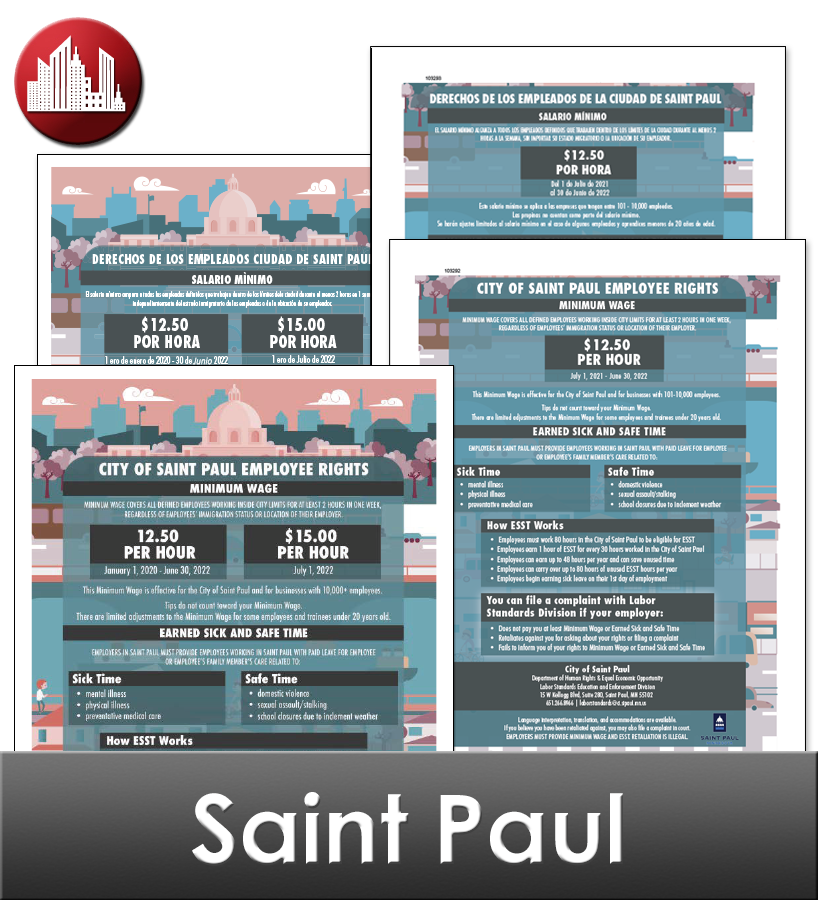 St. Paul, MN Laminated Workplace Poster Package