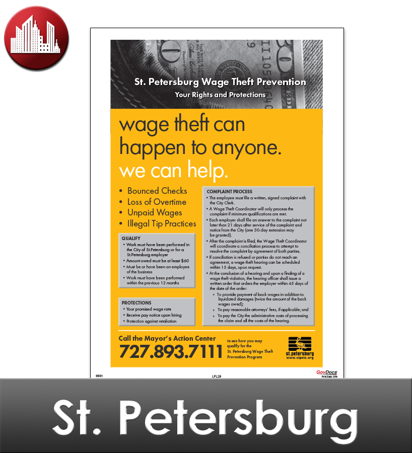 St. Petersburg, FL Laminated Workplace Poster Package