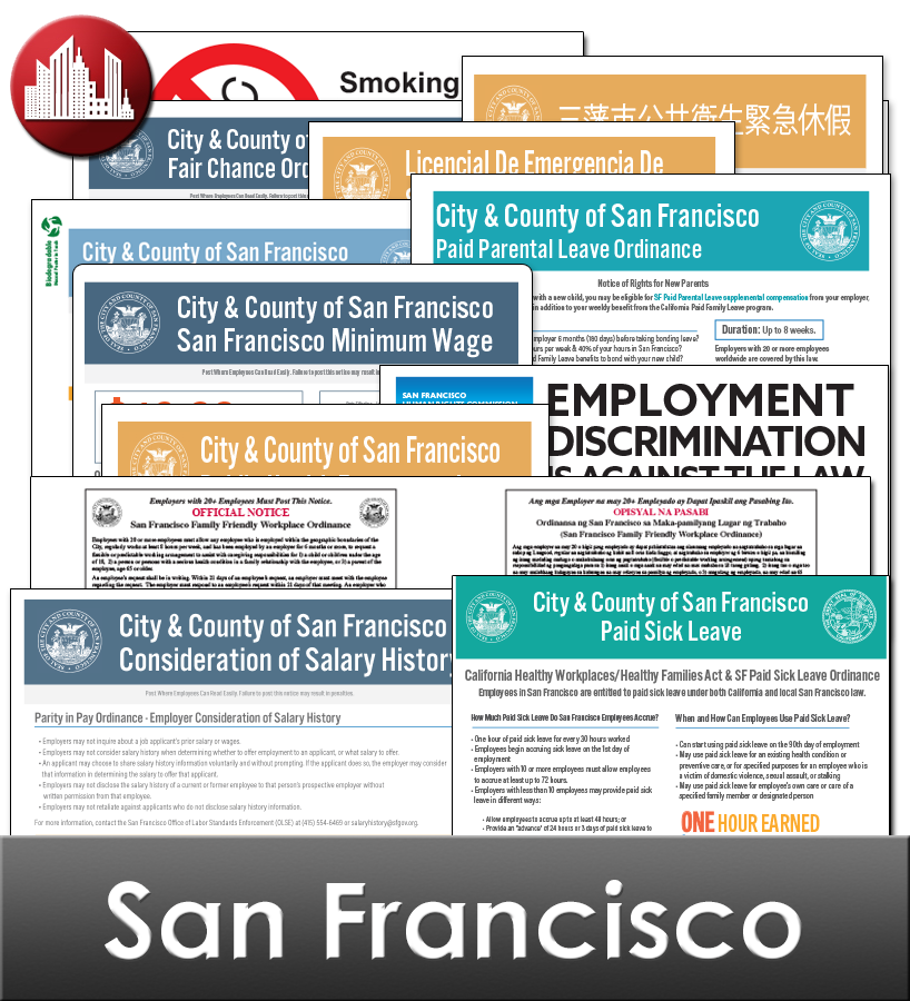 San Francisco, CA Laminated Workplace Poster Package