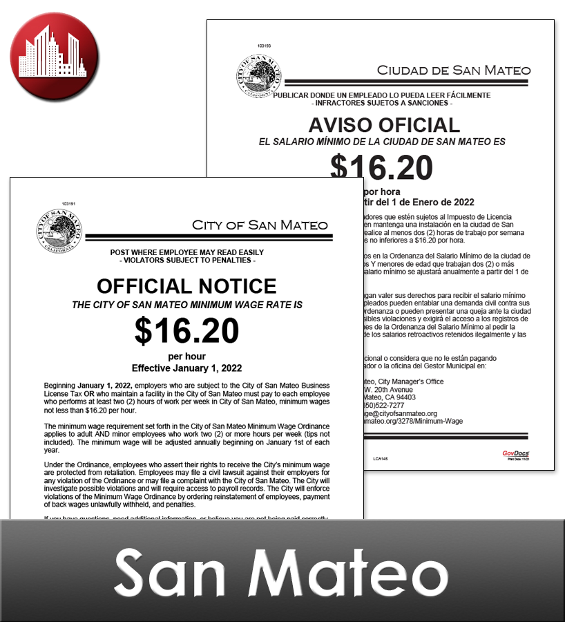 San Mateo, CA Laminated Workplace Poster Package