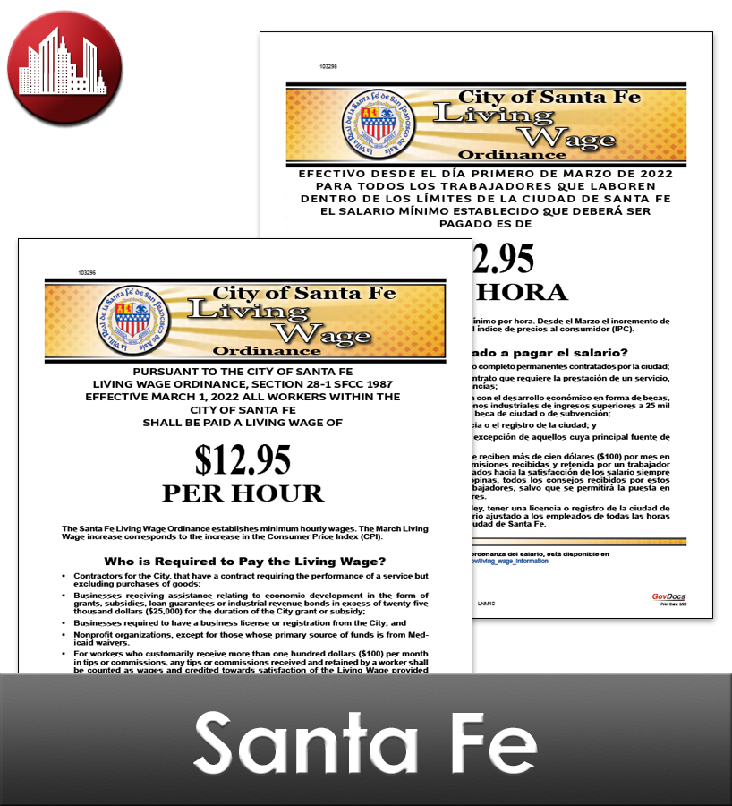 Santa Fe, NM Laminated Workplace Poster Package
