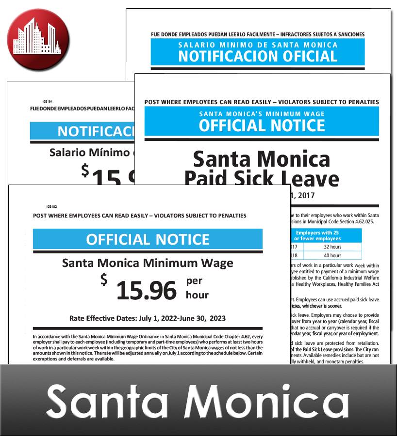 Santa Monica, CA Laminated Workplace Poster Package