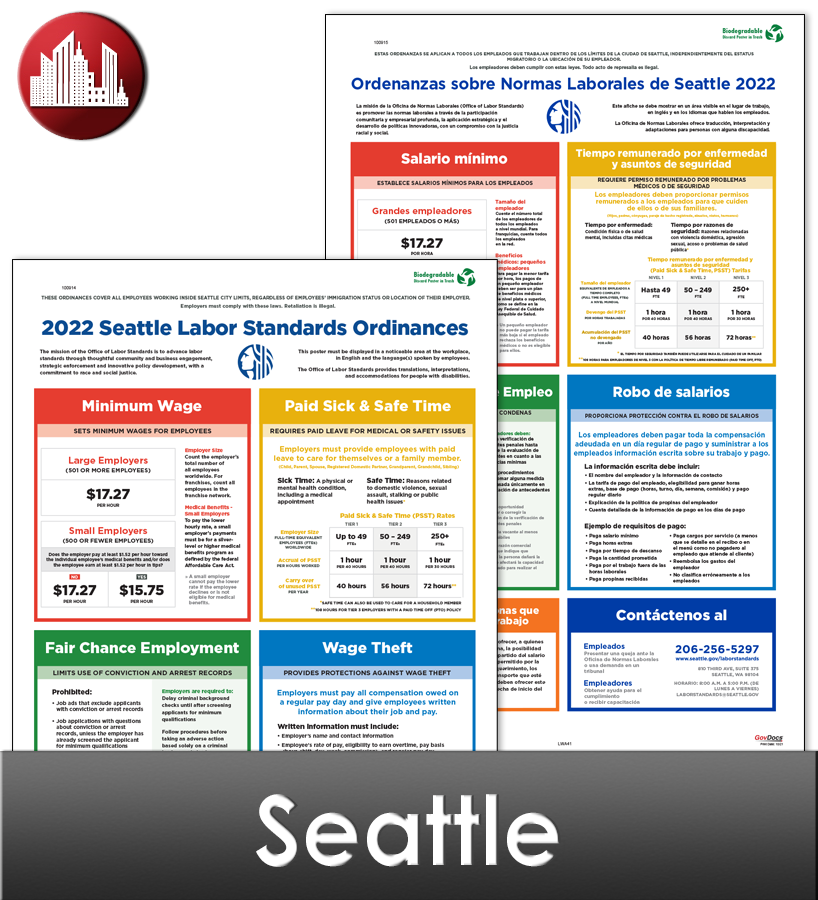 Seattle, WA Laminated Workplace Poster Package