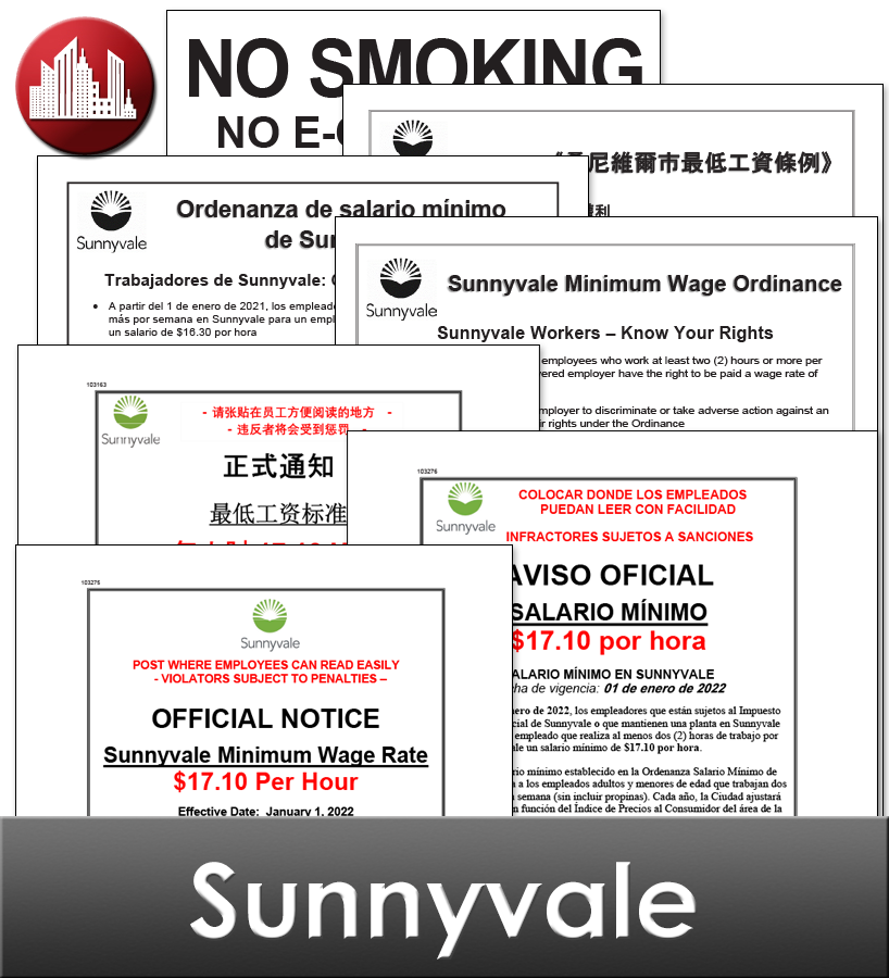 Sunnyvale, CA Laminated Workplace Poster Package