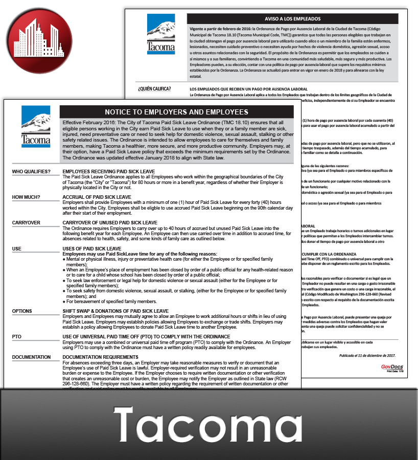 Tacoma, WA Laminated Workplace Poster Package