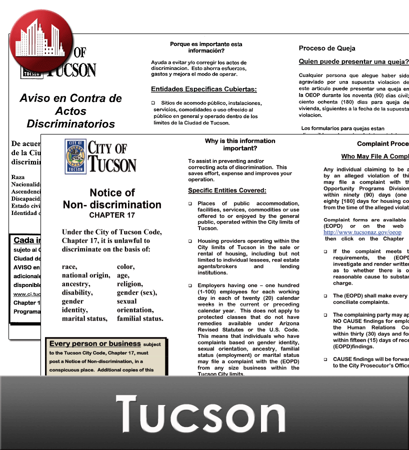 Tucson, AZ Laminated Workplace Poster Package