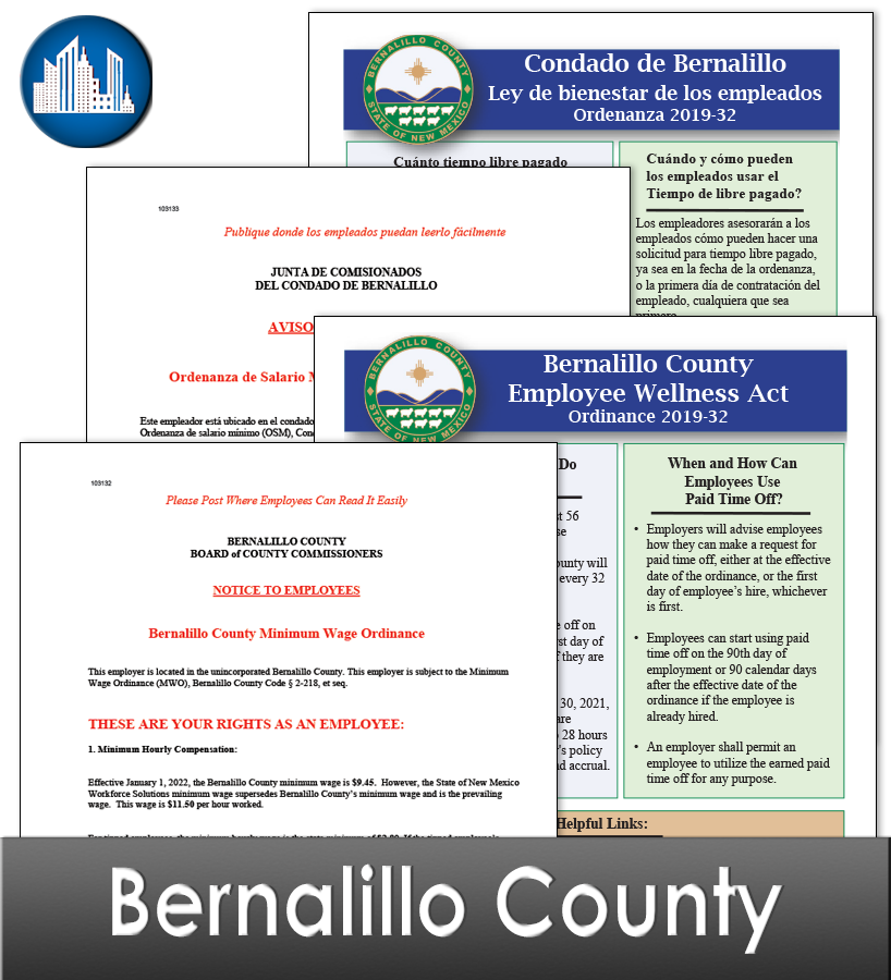 Bernalillo County, NM Laminated Workplace Poster Package
