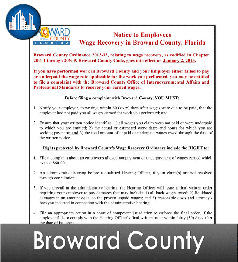 Broward County, FL Laminated Workplace Poster Package