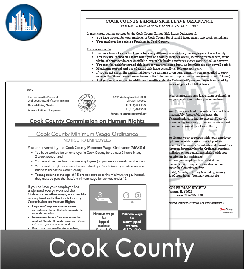 Cook County, IL Laminated Workplace Poster Package