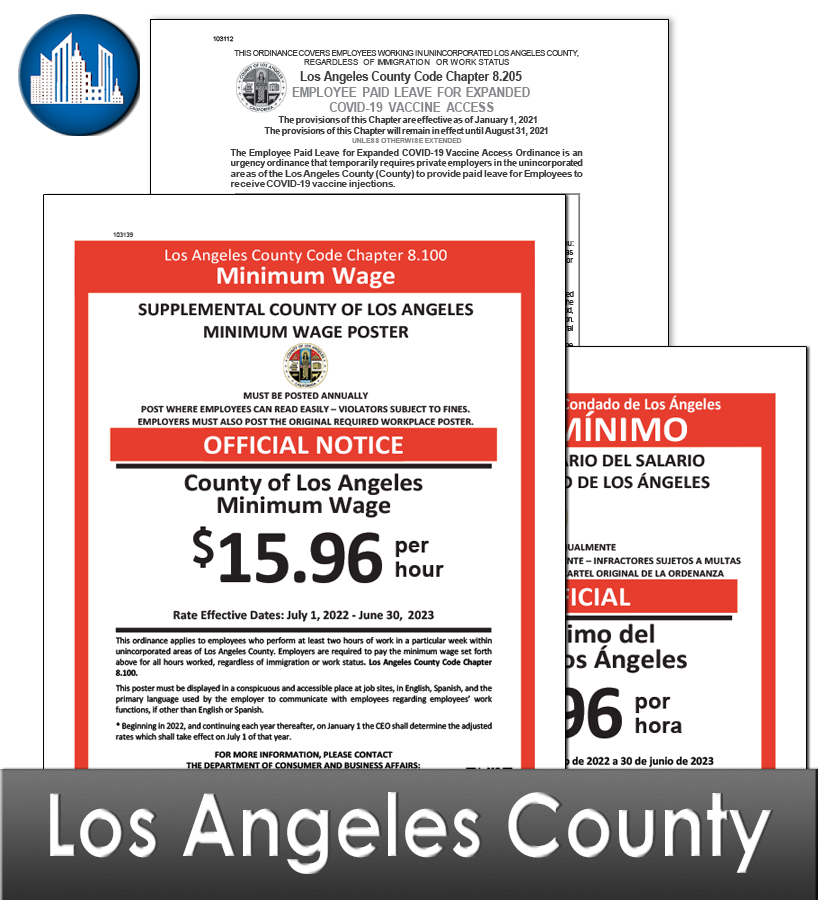 Los Angeles County, CA Laminated Workplace Poster Package