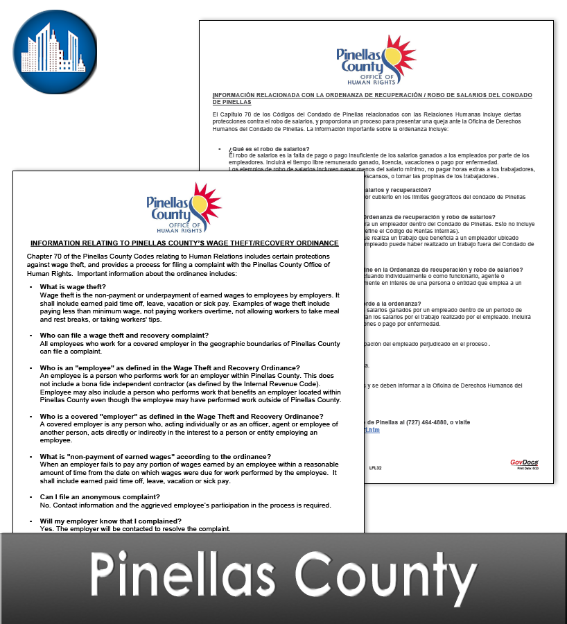 Pinellas County, FL Laminated Workplace Poster Package