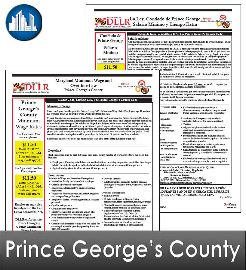 Prince George's County, MD Laminated Workplace Poster Package