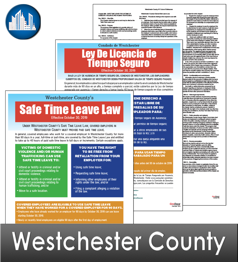 Westchester County, NY Laminated Workplace Poster Package