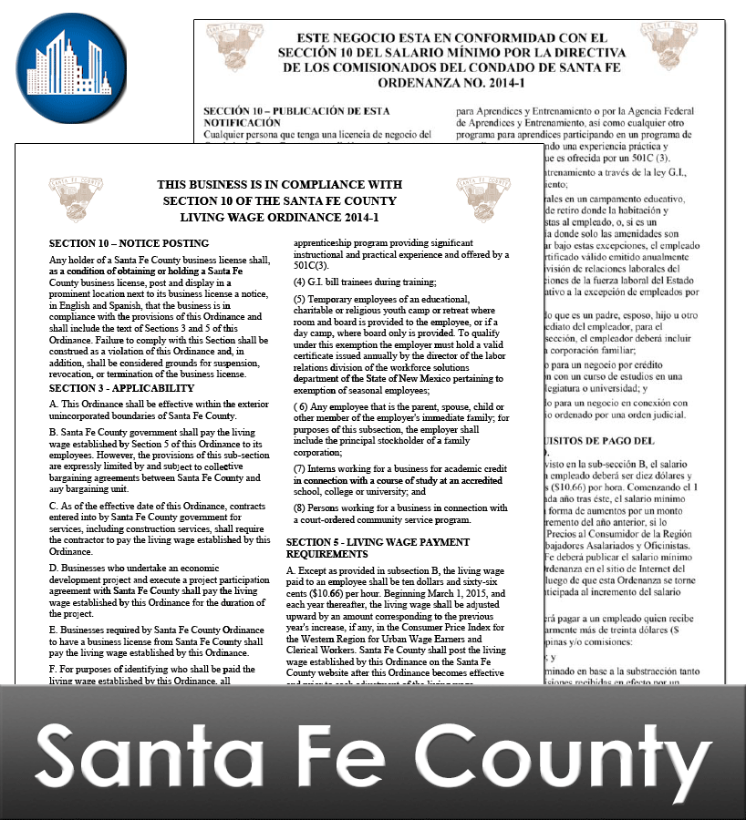 Santa Fe County, NM Laminated Workplace Poster Package