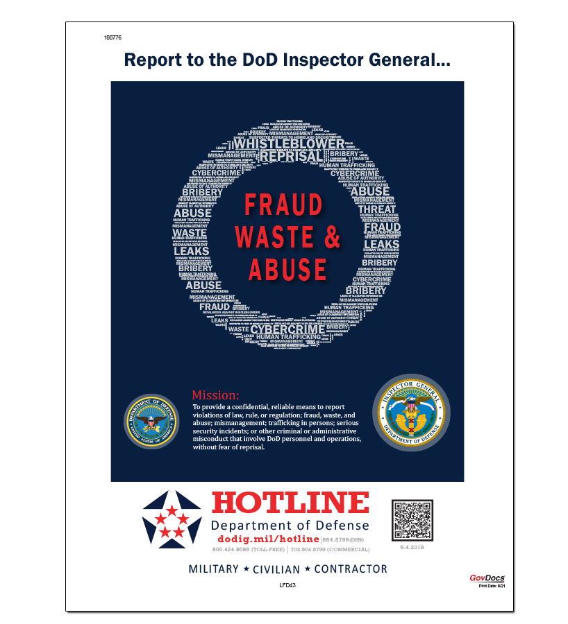 Department of Defense Fraud, Waste and Abuse Hotline Poster
