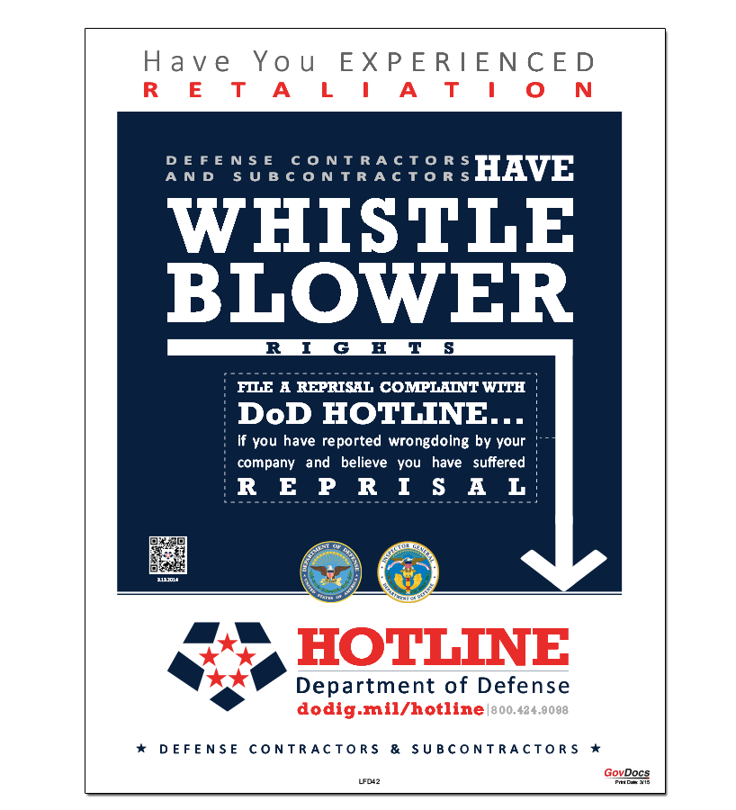 Department of Defense Whistleblower Hotline Poster