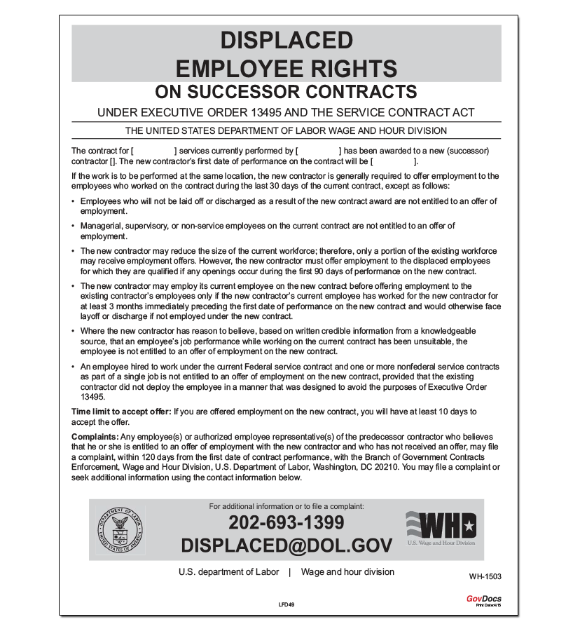 Displaced Employee Rights on Successor Contracts Poster
