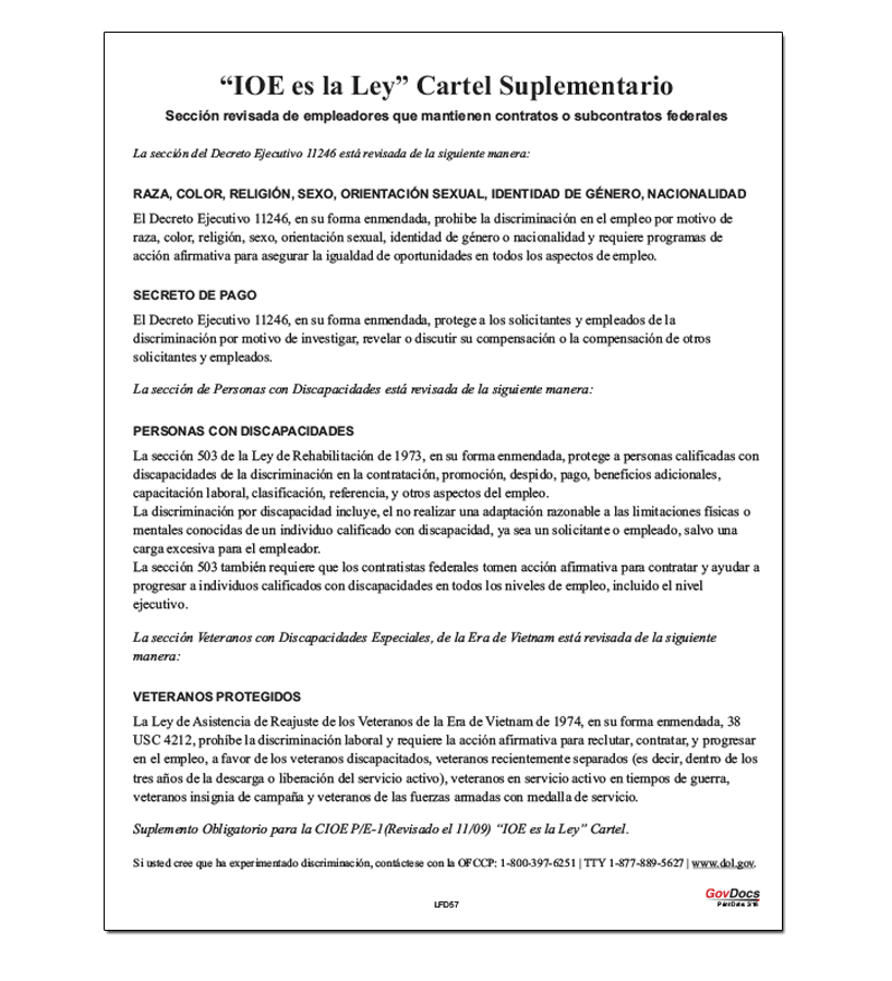 Equal Employment Opportunity (EEO) is the Law Supplement (Spanish) Poster