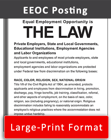 Large Print Federal Equal Employment Opportunity is the Law Poster