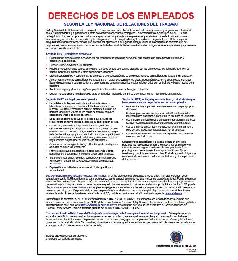 Employee Rights Under the National Labor Relations Act (Spanish) Poster
