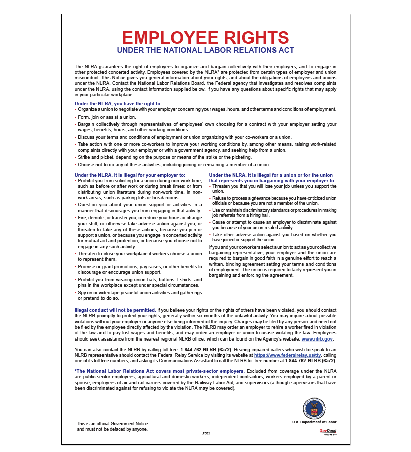 Employee Rights Under the National Labor Relations Act (NLRA) Poster