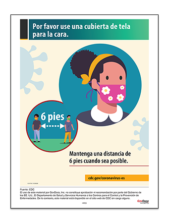 Please Wear a Cloth Face Covering Poster in Spanish